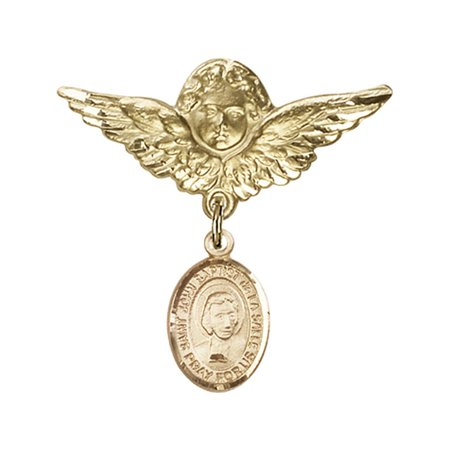 14kt Yellow Gold Baby Badge with St. John Baptist de la Salle Charm and Angel w/Wings Badge Pin 1 1/8 X 1 1/8 inches