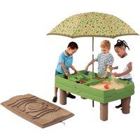 Step2 Naturally Playful Sand And Water Activity Table With 7 Piece Accessory Set and Umbrella