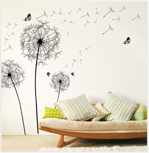 Huppin's New Design Flying Dandelion DIY Wall Stickers Mural Art Decals for Home Improvement