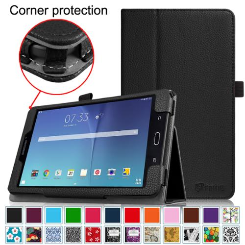 Fintie Samsung Galaxy Tab E 8.0 Folio Case - Slim Fit Premium Vegan Leather Folio Stand Cover, Black
