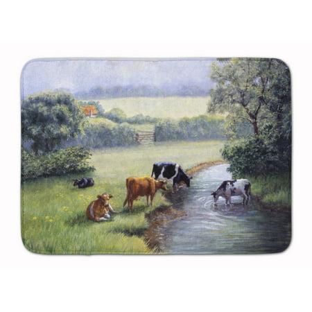 Cows Drinking At The Creek Bank Machine Washable Memory Foam Mat Bdba0350rug