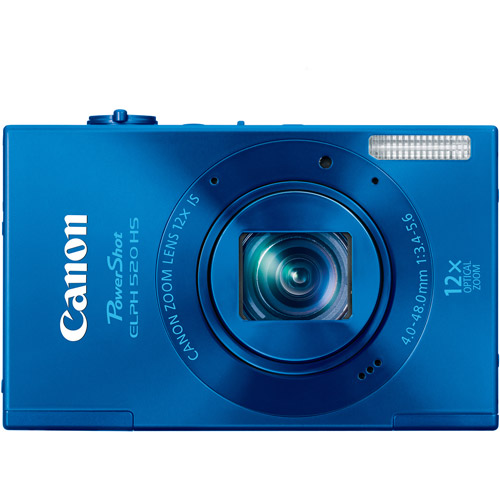 """Canon PowerShot ELPH 520 HS Blue 10.1MP Digital Camera with 12x Optical Zoom, 3.0"""" LCD, HD Movie Recording"""