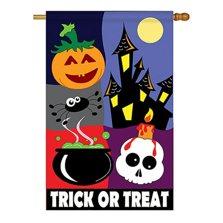 Two Group - Trick or Treat Night Fall - Seasonal Halloween Applique Decorative Vertical House Flag 28