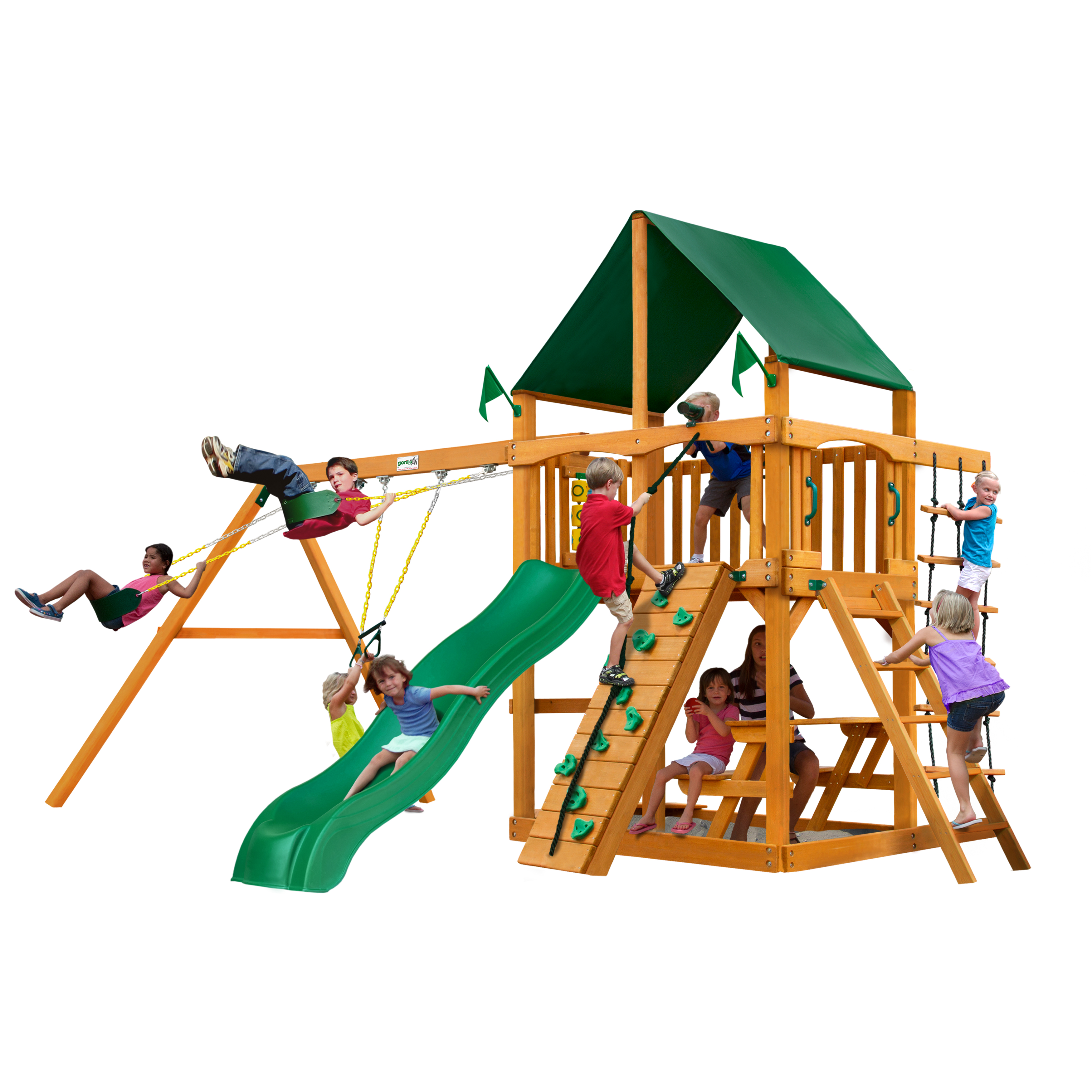 Gorilla Playsets Chateau Wooden Swing Set With Sunbrella Canvas