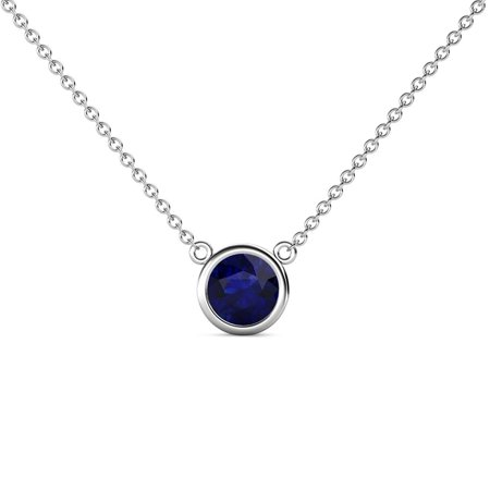 Blue Sapphire 0.73 Carat Bezel Set Women Solitaire Pendant in 14K White Gold with 16 Inches Gold Chain