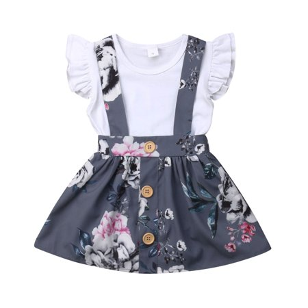 Newborn Toddler Baby Girls Outfit Set Ruffled Romper Bodysuit Playsuit + Floral Tutu Suspender Skirt