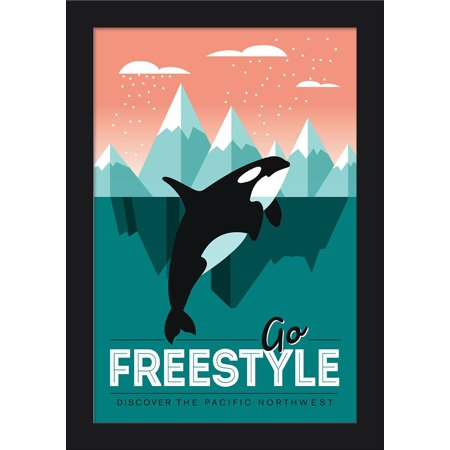 Pacific Northwest - Orca Whale - Go Freestyle - Lantern Press Artwork (12x18 Giclee Art Print, Gallery Framed, Black Wood)