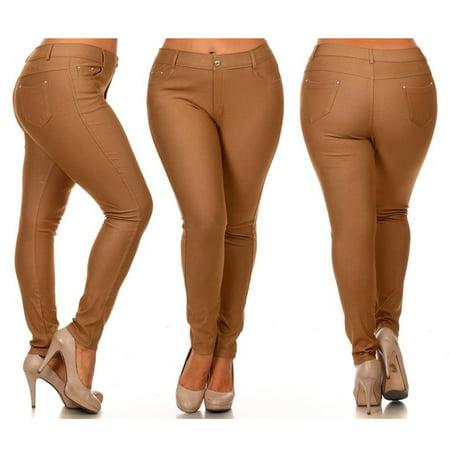 7388911792a80 AllTopBargains - 12 Pc Lot Womens Plus Size Pants Jeggings Skinny Jeans  Look Stretch Khaki Tan XL - Walmart.com
