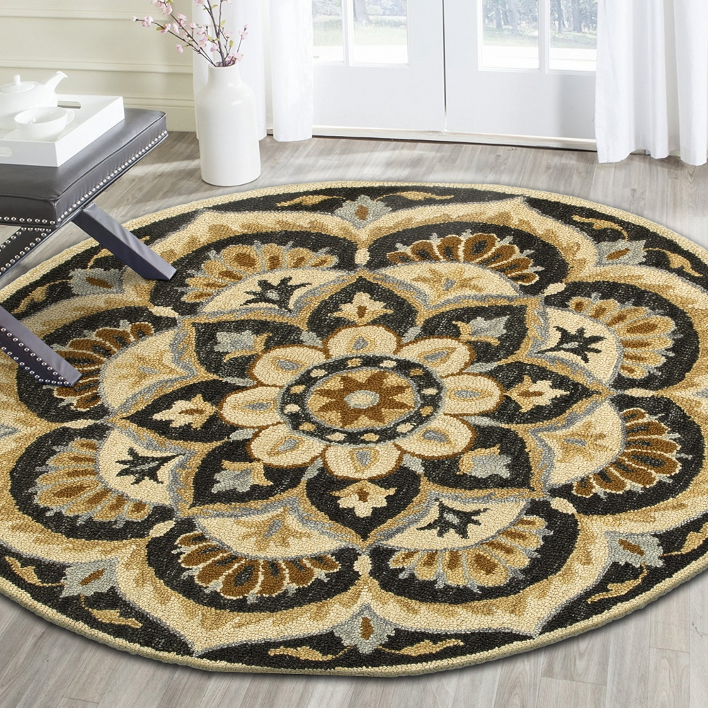 Dazzle Blooming Medallion Round Rug ( 6 ft x 6 ft )