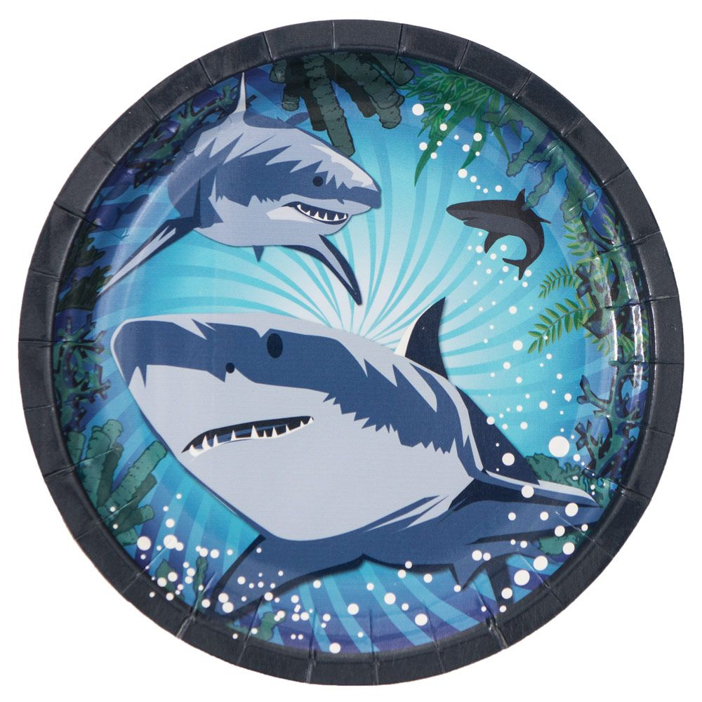 Shark Party Luncheon Lunch Dinner Plate Plates (8 Pack) -Shark Week Party Supplies