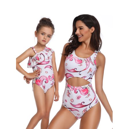 Family Matching One-piece Swimming Costume Hollow Out Swimsuit Swimwear Kid Girl Women Beachwear Bathing Suit Floral Print Pink (Matching Bathing Suits)