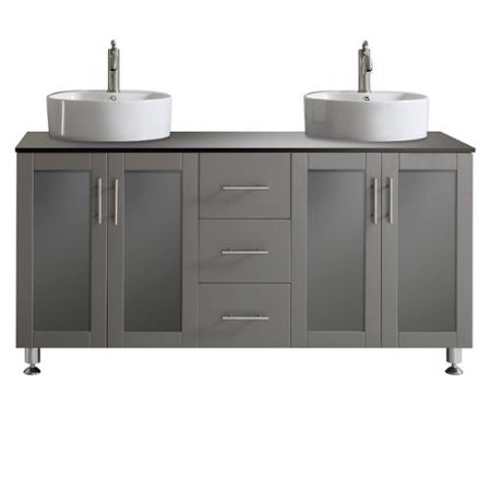Vinnova Tuscany 60 Inch Grey Double Vanity With White Vessel Sink With Glass
