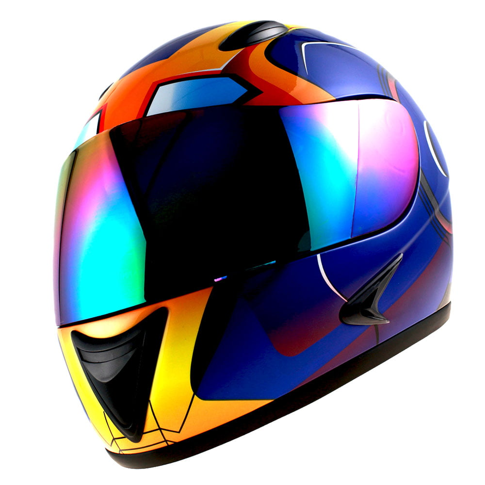 1Storm Motorcycle Street Bike BMX MX Youth Kids Full Face Helmet Iron Man Blue by WOW