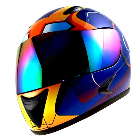 1Storm Motorcycle Street Bike BMX MX Youth Kids Full Face Helmet Iron Man Blue HG316