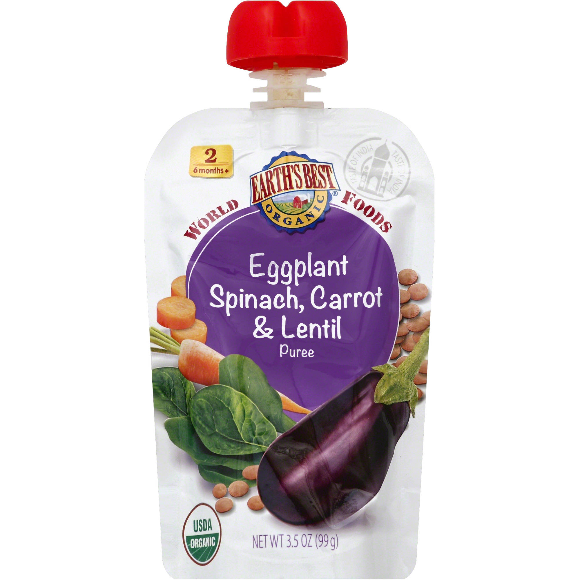 Earth's Best Organic World Foods Eggplant, Spinach, Carrot & Lentil Puree Stage 2 Baby Food, 3.5 oz (Pack of 6)