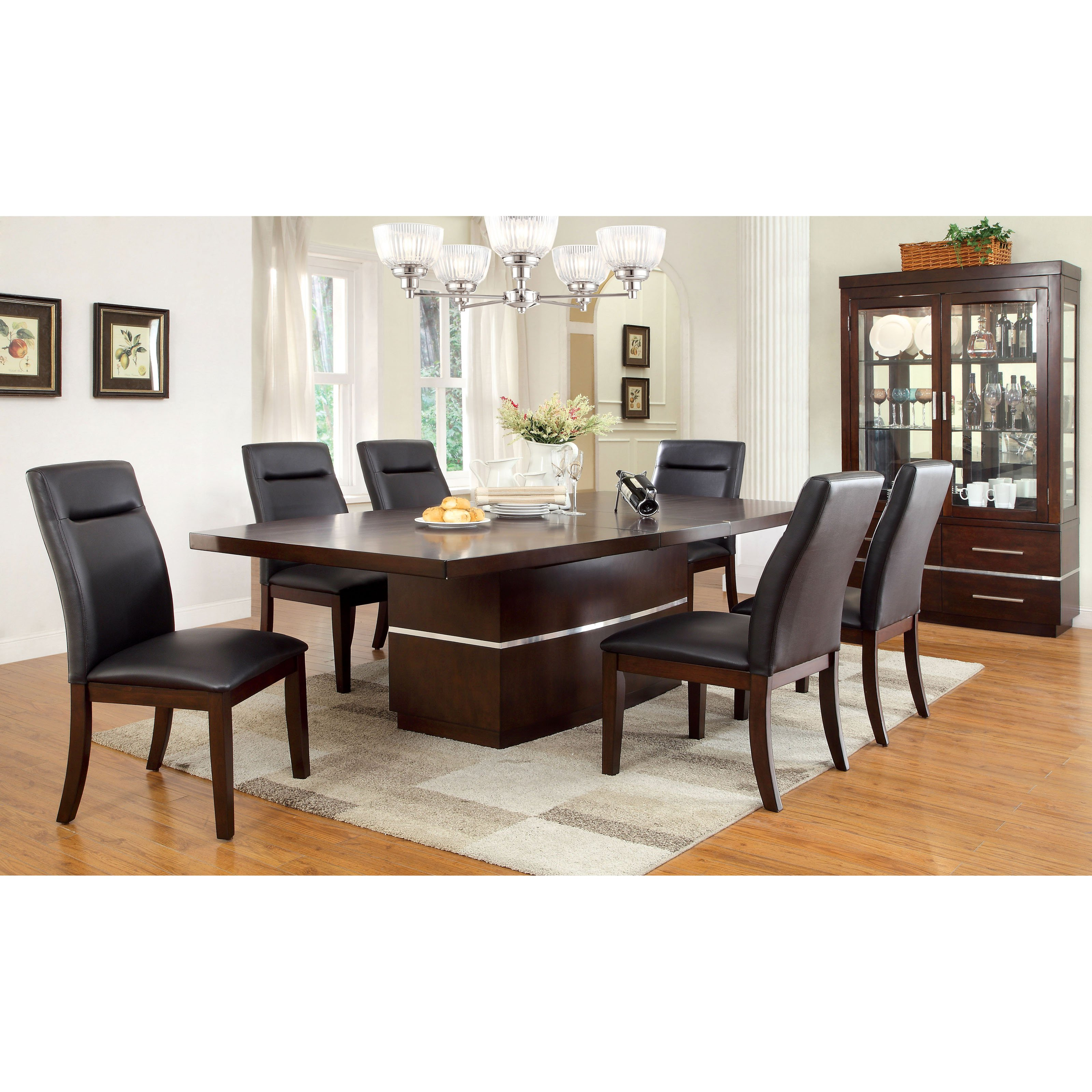 Furniture of America Langfield 7 Piece Modern Dining Room Set by Enitial Lab