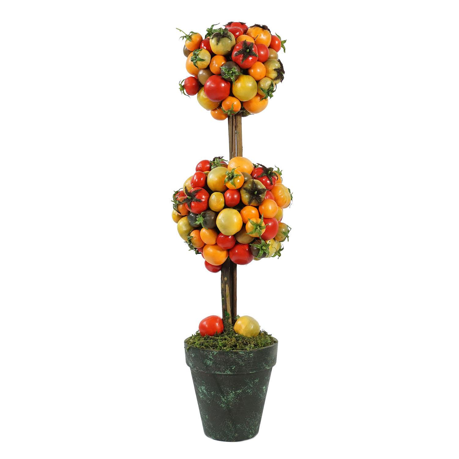 "21"" Decorative Potted Artificial Double Ball Tomato Topiary Tree"
