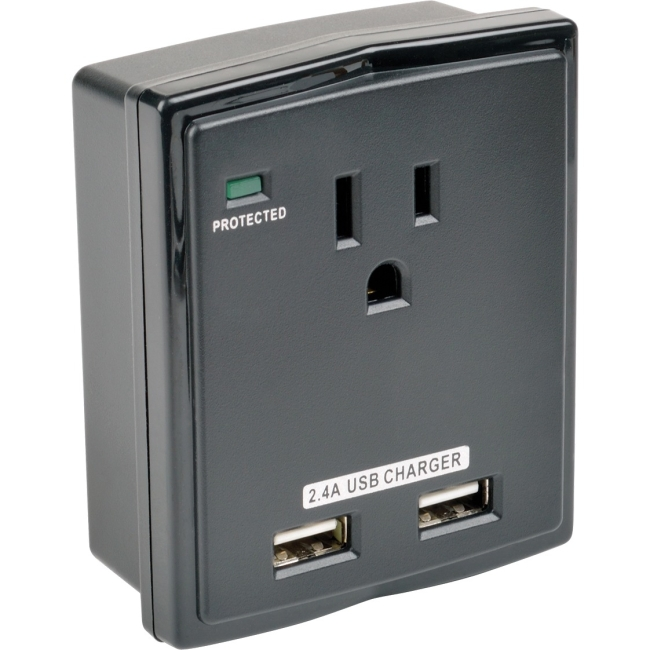 Tripp Lite Protect It! 1-Outlet Surge Protector w/ 2 USB Ports, 1080 Joules
