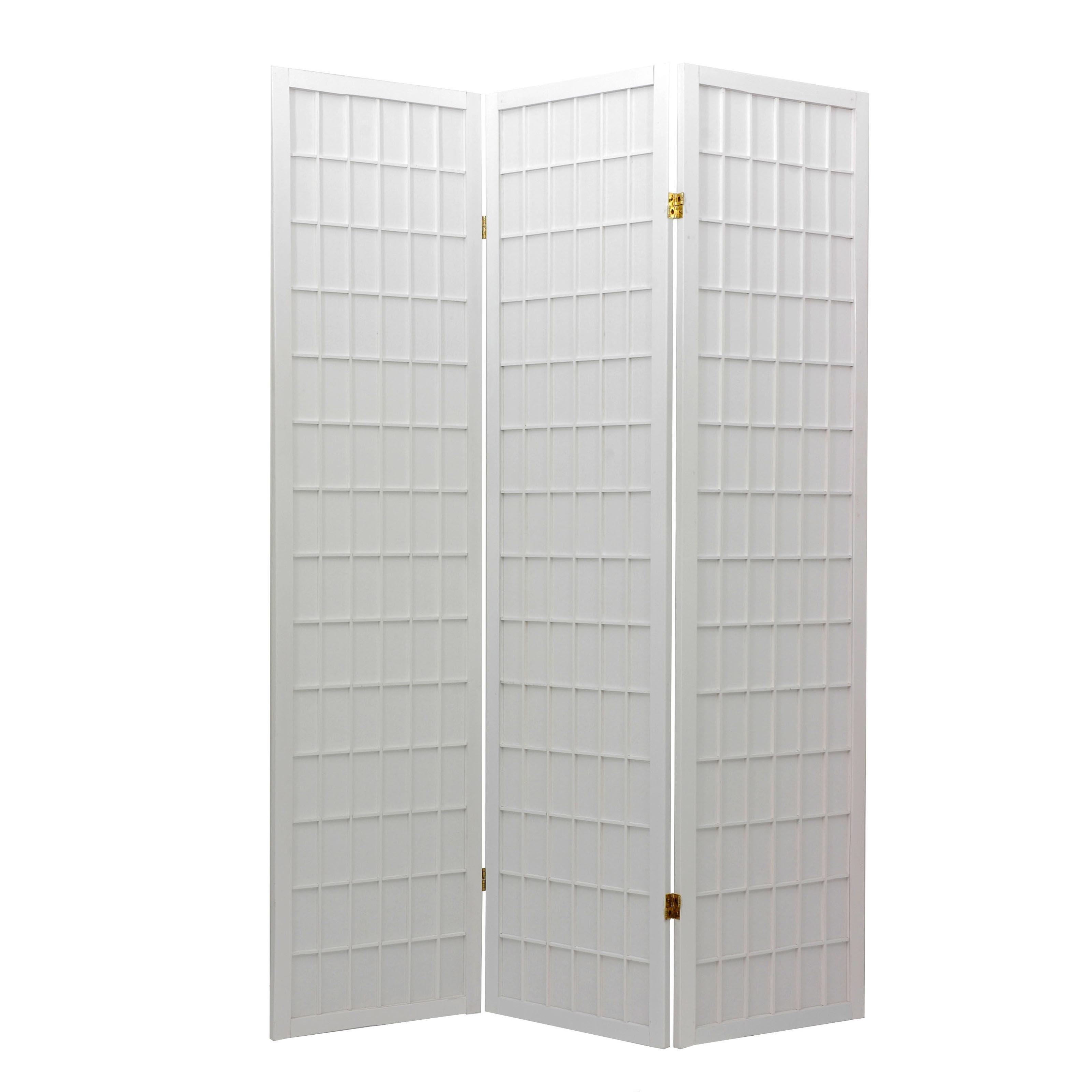 Oriental Furniture Window Pane Shoji Screen Room Divider - White