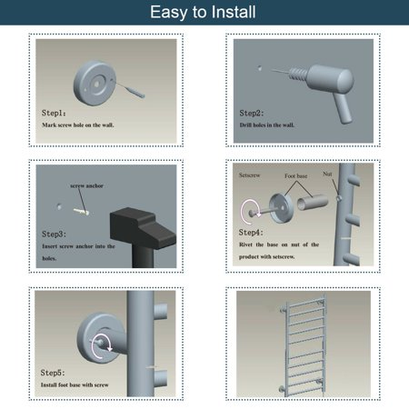 Gymax Stainless Steel Electric Towel Rail Rack 10 Bar Rung