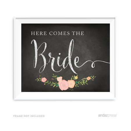 Here Comes The Bride Chalkboard & Floral Roses Wedding Party Signs](Here Comes The Bride Banner)