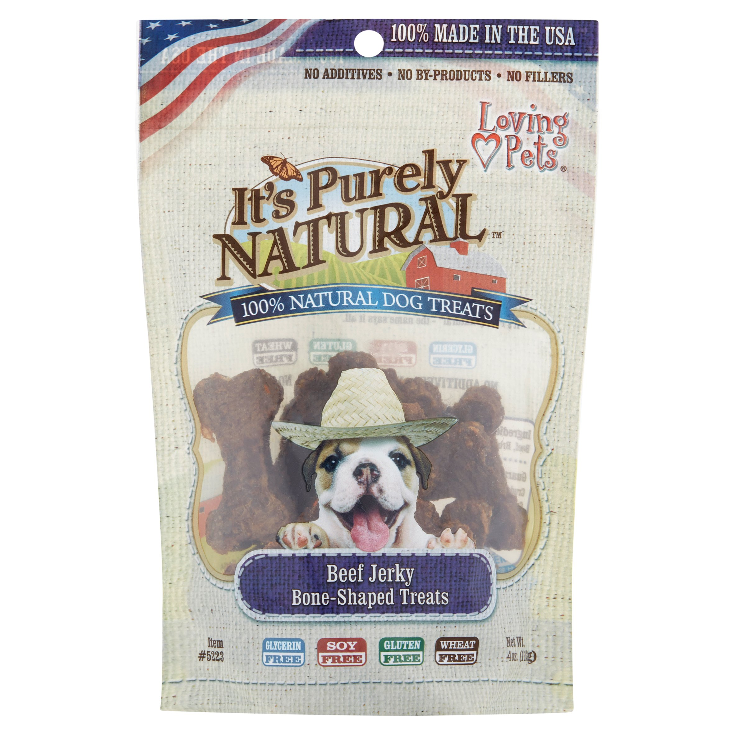 Loving Pets It's Purely Natural Beef Jerky Bone-Shaped Dog Treats, 4 oz