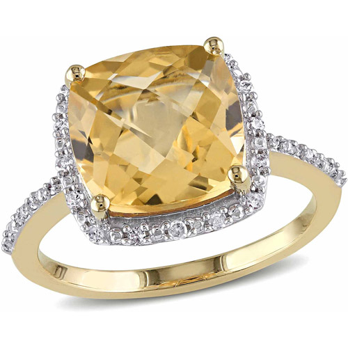 Tangelo 4 Carat T.G.W. Citrine and Diamond Accent 10kt Yellow Gold Halo Cocktail Ring