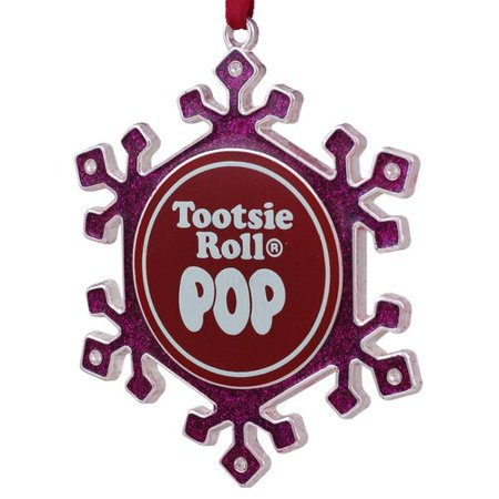 Northlight Seasonal Pink Snowflake Tootsie Roll Pop Candy Logo Christmas Ornament with European Crystal for $<!---->