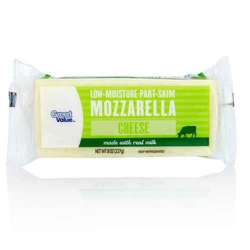 Great Value Low-Moisture Part-Skim Mozzarella Cheese, 8 oz