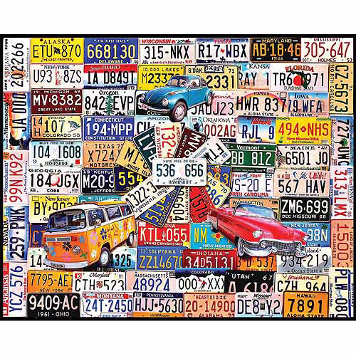 White Mountain Puzzles 1000-Piece Jigsaw Puzzle, License Plates