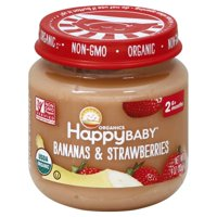 (6 Jars) Happy Baby Clearly Crafted Organic Stage 2 Bananas & Strawberries, 4oz