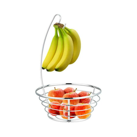 Orchard Fruit Basket - Home Basics Chrome Fruit Basket with Banana Tree