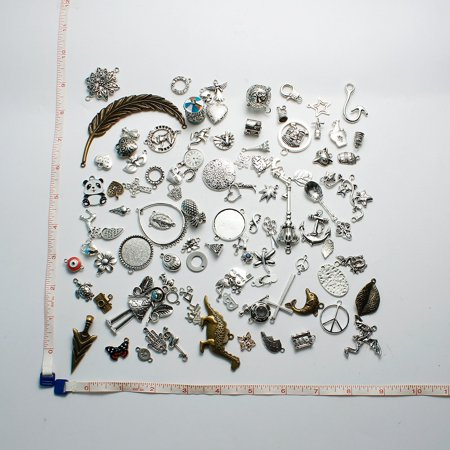 SEXY SPARKLES 100 Mixed Antique Bronze Silver tone Charms Assorted Mix Tibetan Charms