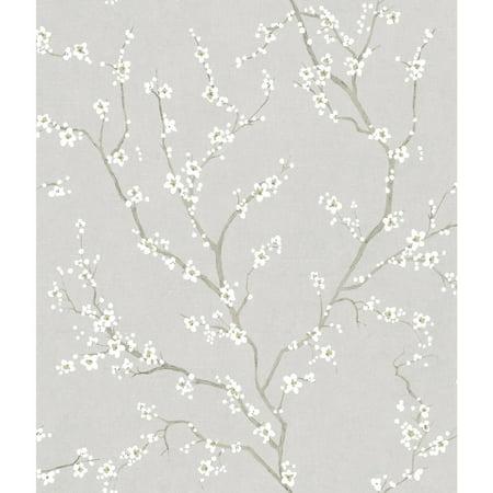 Cherry Wallpaper - RoomMates Grey Cherry Blossom Peel and Stick Wallpaper