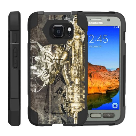 TurtleArmor ® | For Samsung Galaxy S7 Active G891A [Dynamic Shell] Dual Layer Hybrid Silicone Hard Shell Kickstand Case - Steampunk Machine (Steampunk Suit)