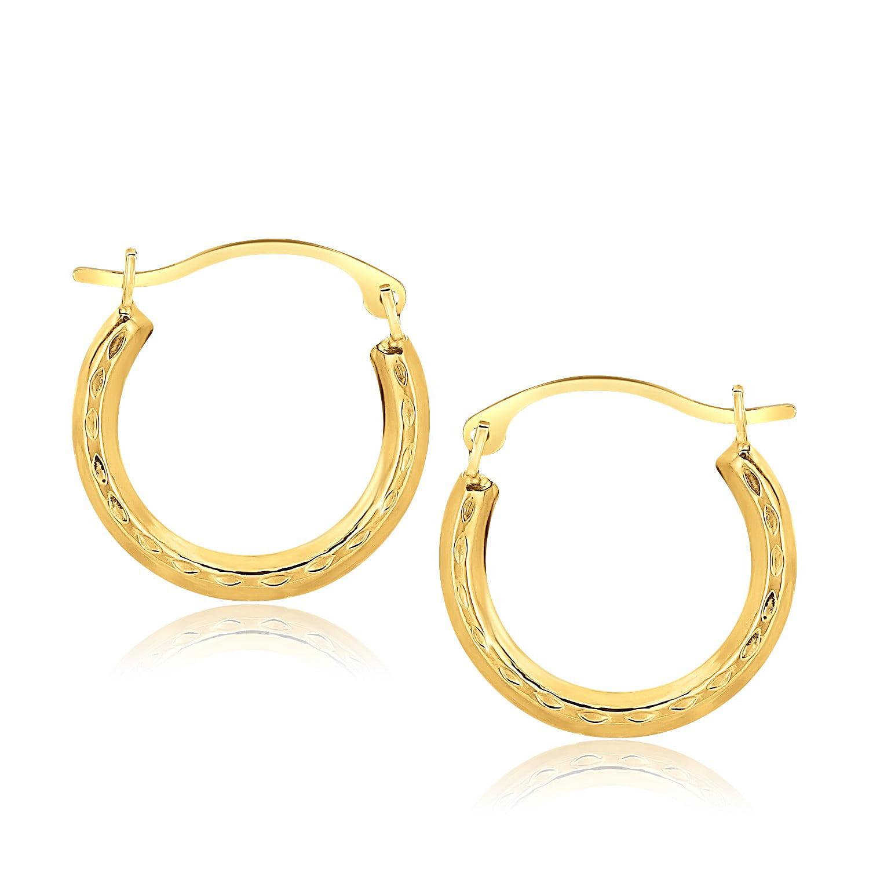0.01cttw Mia Diamonds 14k Yellow Gold 27mm x 2mm Diamond Fascination Round Hinged Hoop Earrings
