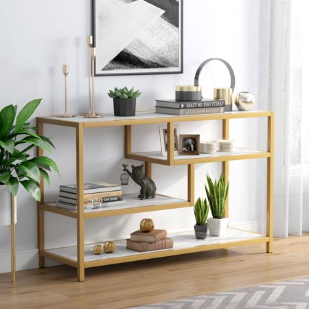 Tribesigns Gold Sofa Entry Table, 3-Tier TV Console Table with Faux Marble Top and Gold Metal Frame for Living Room Entryway Gold Marble Top Console Table