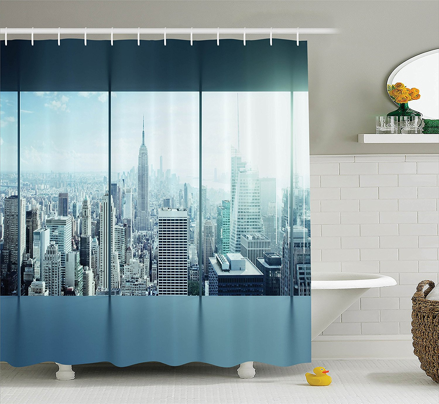 house decor shower curtain set by   aerial view of a big crowded modern city from the office new