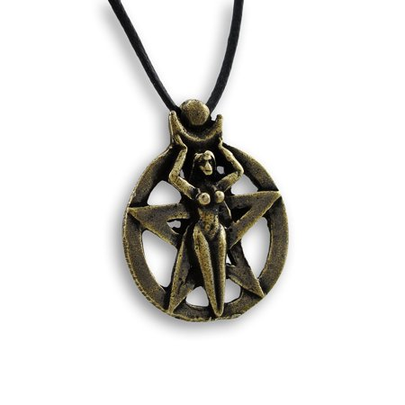Brass Plated Pentacle Goddess Pendant W/ Cord Necklace