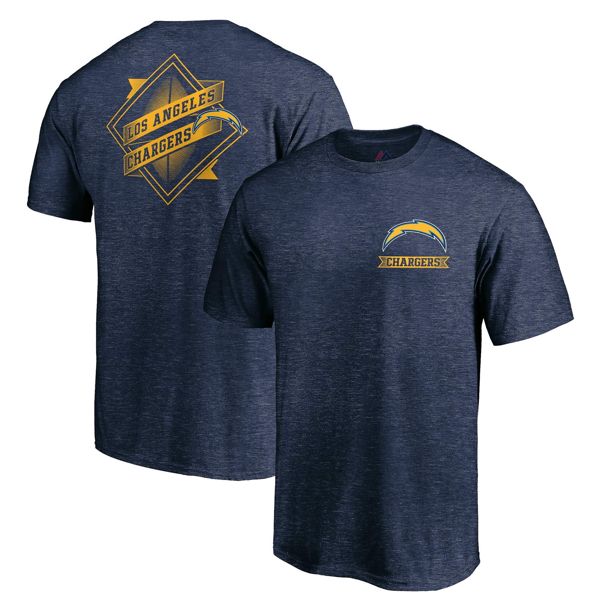 Los Angeles Chargers Majestic Iconic Diamond Scroll T-Shirt - Heathered Navy