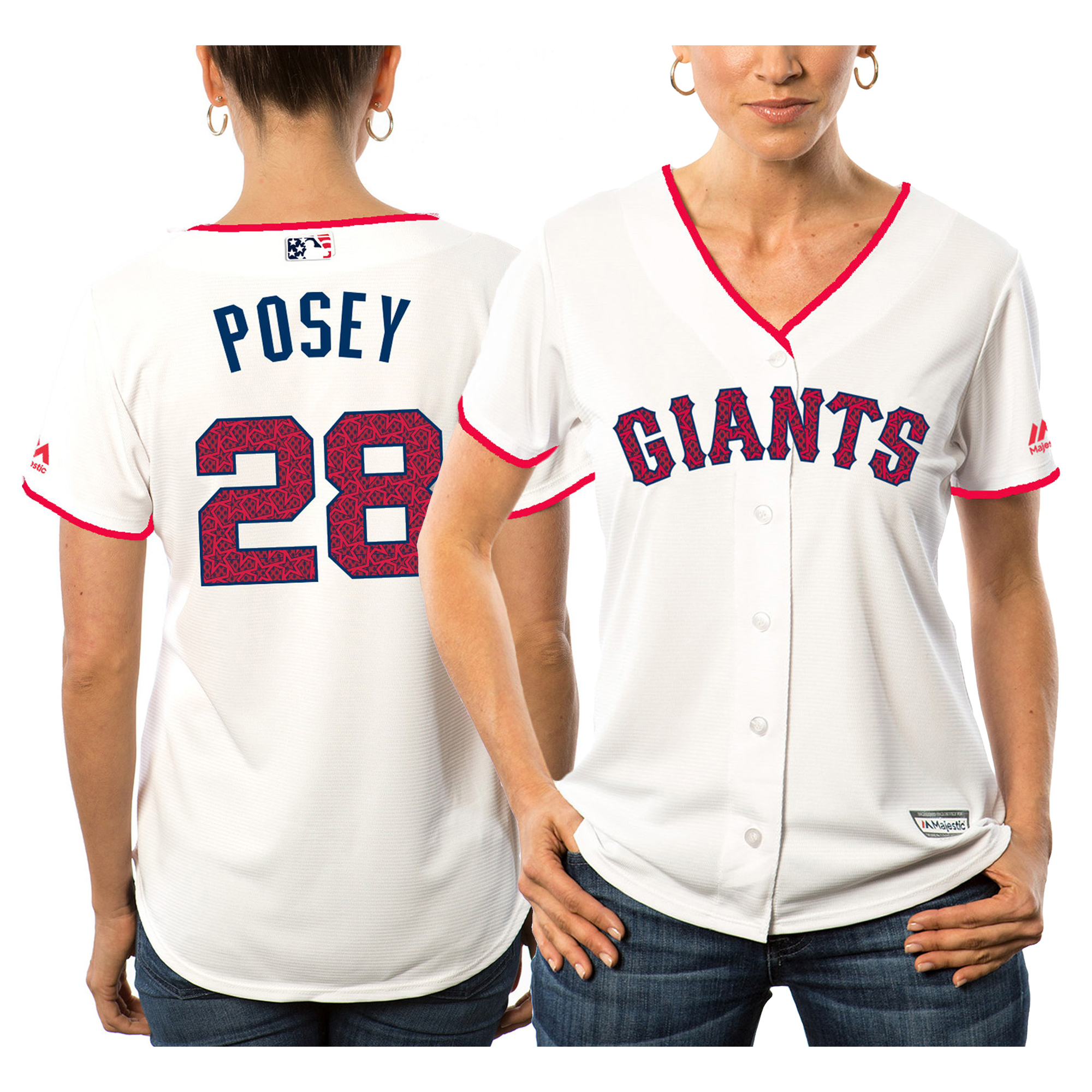 Buster Posey San Francisco Giants Majestic Women's Fashion Stars & Stripes Cool Base Player Jersey - White