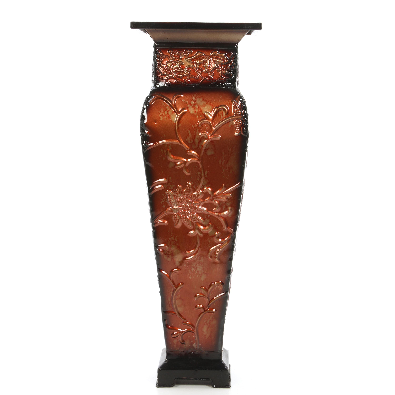 Elegant Expressions By Hosley Metal Embossed Square Vase Red Gold Walmart Com Walmart Com
