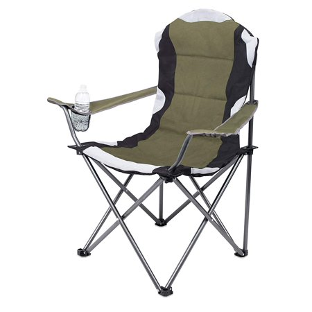 Internet's Best Padded Camping Folding Chair | Outdoor | Green | Sports | Cup Holder | Comfortable | Carry Bag | Beach | Quad ()