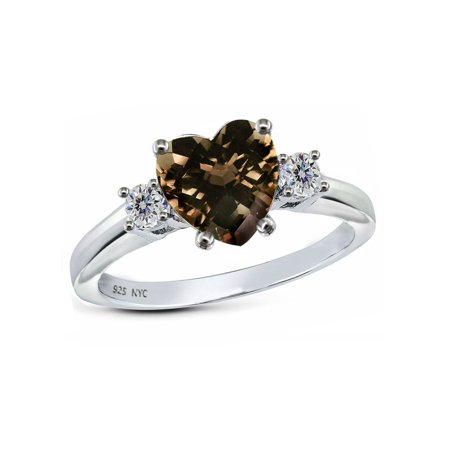 Genuine 7mm Heart Shape Smoky Quartz Ring Marquise Smoky Quartz Ring