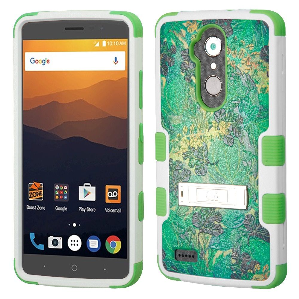ZTE Blade Max 3 Case, ZTE Max Blue Case, ZTE Max XL Phone Case, by Insten Tuff Oil-Painting Leaves Dual Layer Hybrid Stand PC/TPU Rubber Case Cover for ZTE Blade Max 3/Max Blue/Max XL N9560 - Green - image 3 de 3