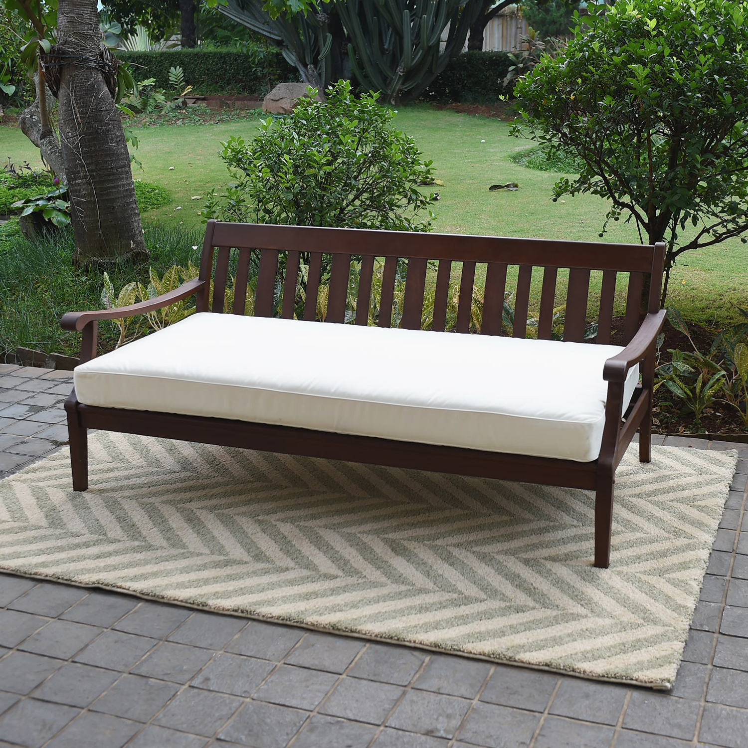 Alston Wood Outdoor Sofa Daybed with White Cushion