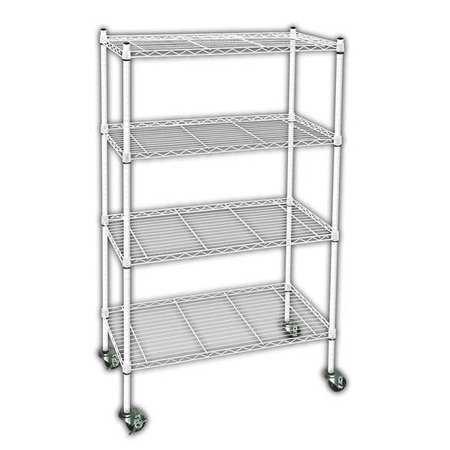 ZORO SELECT 3TPE6 Wire Cart, 4 Shelf,L60 x W18 x H67 In. 4 Shelf Wire Carts