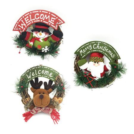 Christmas Doll Small Rattan Circle Pendant Christmas Door Hanging Christmas Decorations](Christmas Office Door Decorations Ideas)