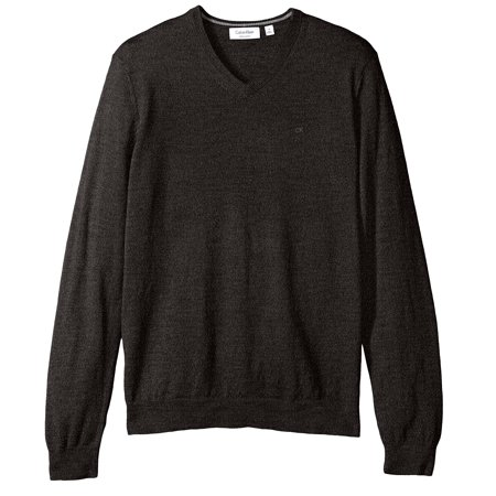 Calvin Klein NEW Black Mens Size Small S V-Neck Ribbed Wool Sweater Gray Wool V-neck Sweater