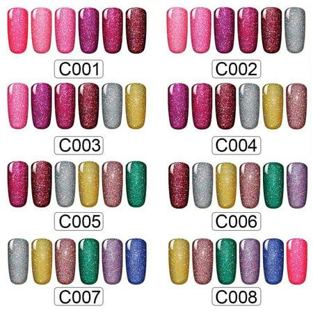 CLAVUZ Gel Nail Polish Kit with LED Light 12W Neon Shimmer Soak Off ...